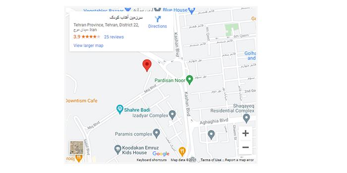 آدرس سرزمین آفتاب گوگل مپ