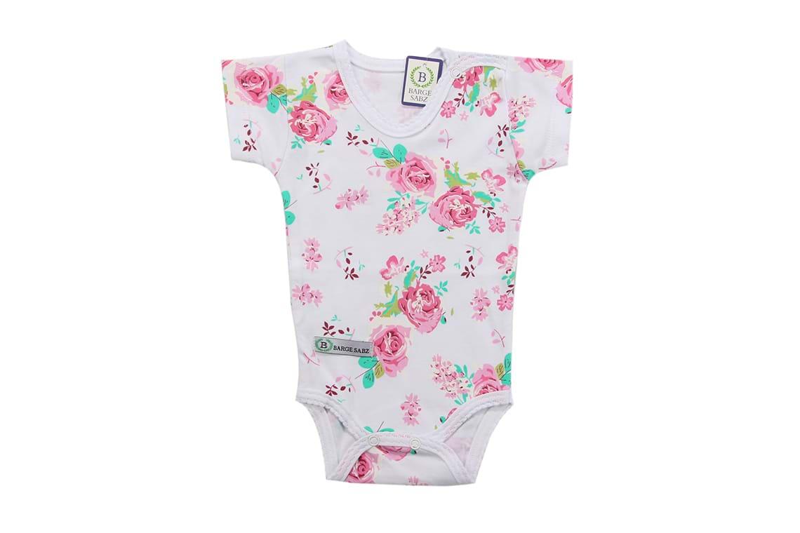 زیر دکمه دار کوتاه دخترانه گل رز برگ سبز